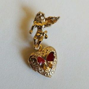 ANGEL holding Heart LOCKET wit butterfly pin